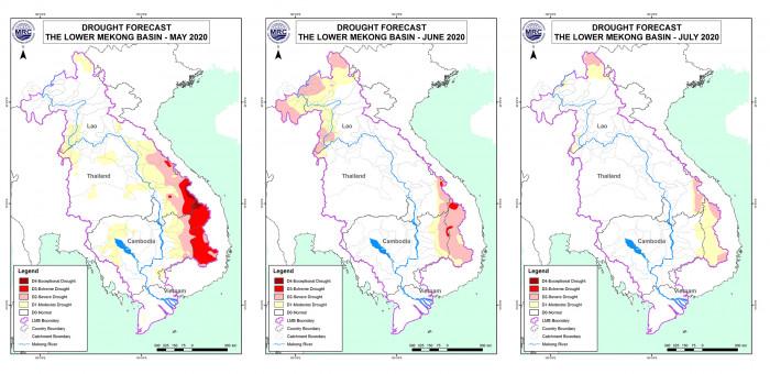 Maps Mekong levels rise