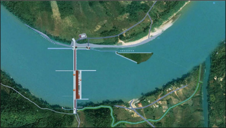 A drawing of the proposed Sanakham hydropower project. Courtesy of Datang (Lao) Sanakham Hydropower Co. Ltd.