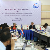 JICA Sr Deputy Director General Morita Takahiro middle right delivers his remarks at the kick off meeting